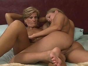 Naked old and young lesbian orgy
